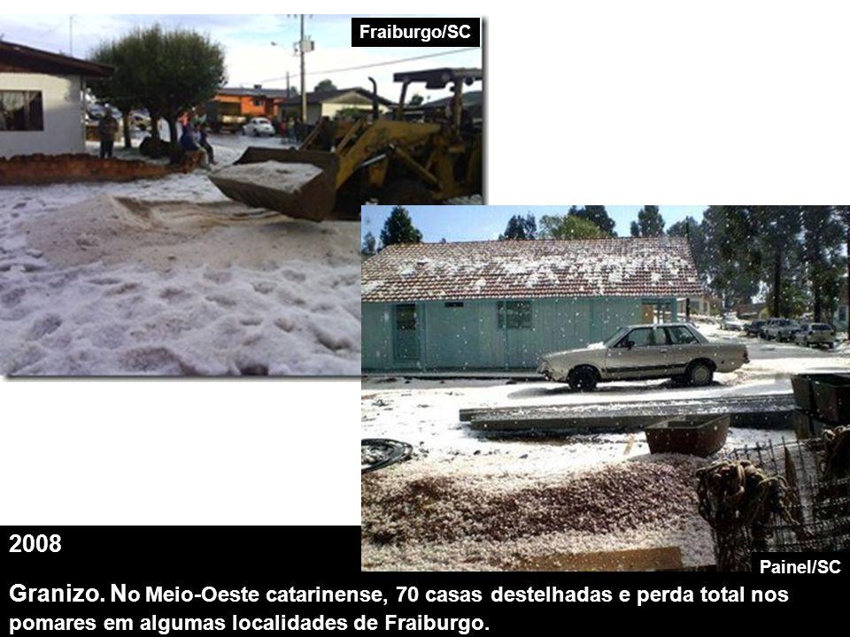2008 Granizo. N o Meio-Oeste catarinense, 70 casas destelhadas e perda total nos pomares em algumas localidades de Fraiburgo. Fraiburgo/SC Painel/SC