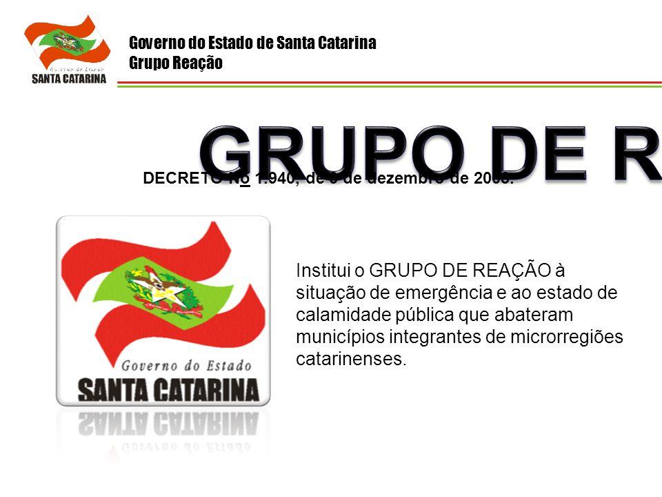 Governo do Estado de Santa Catarina Grupo Reação Institui o GRUPO DE REAÇÃO à situação de emergência e ao estado de calamidade pública que abateram mu