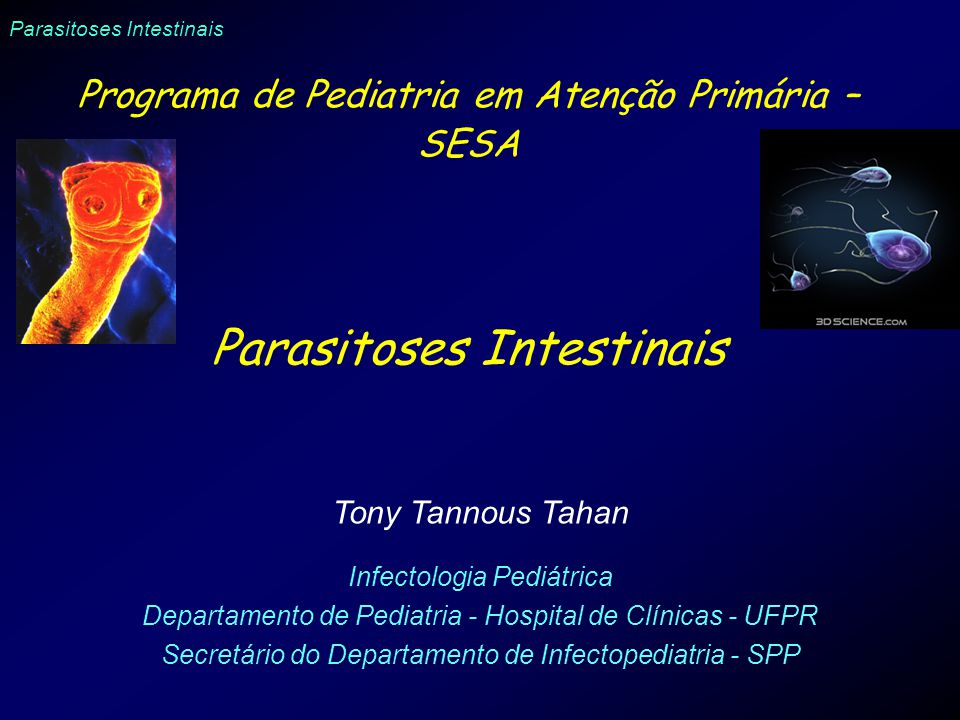 Parasitoses Intestinais Programa de Pediatria em Atenção Primária – SESA Parasitoses Intestinais Tony Tannous Tahan Infectologia Pediátrica Departamento de Pediatria - Hospital de Clínicas - UFPR Secretário do Departamento de Infectopediatria - SPP