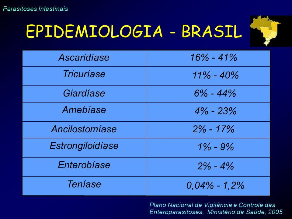 Parasitoses Intestinais Ascaridíase 16% - 41% Tricuríase 11% - 40% Giardíase 6% - 44% Amebíase 4% - 23% Ancilostomíase 2% - 17% Estrongiloidíase 1% -