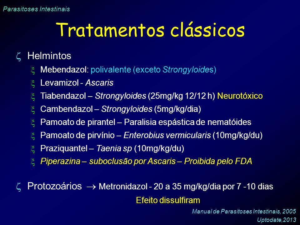 Parasitoses Intestinais Tratamentos clássicos Helmintos Mebendazol: polivalente (exceto Strongyloides) Levamizol - Ascaris Tiabendazol – Strongyloides