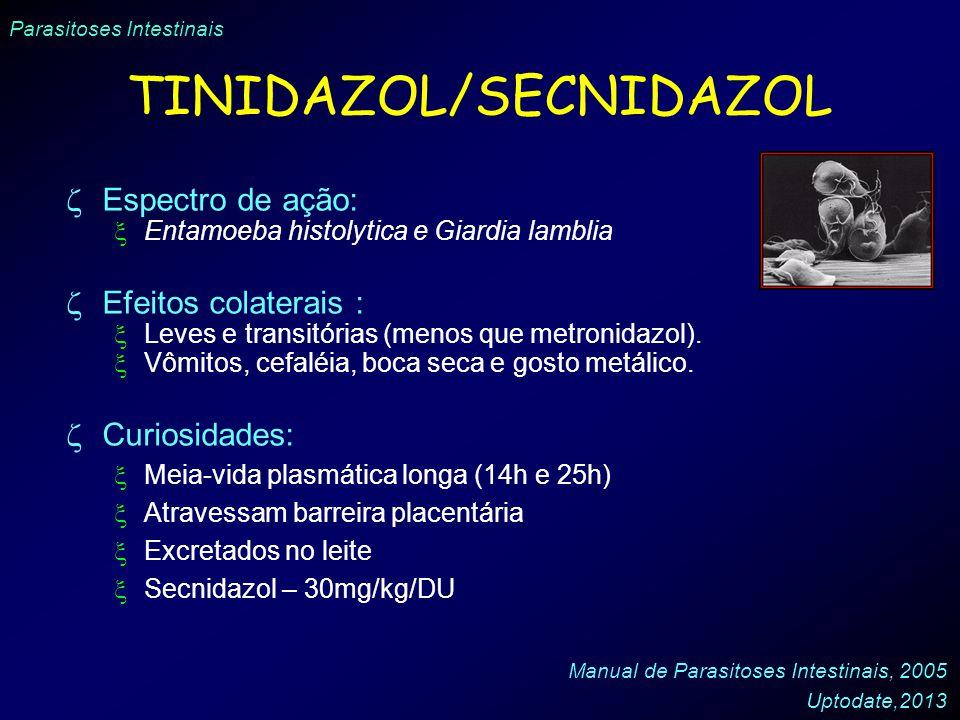 Parasitoses Intestinais TINIDAZOL/SECNIDAZOL Espectro de ação: Entamoeba histolytica e Giardia lamblia Efeitos colaterais : Leves e transitórias (meno