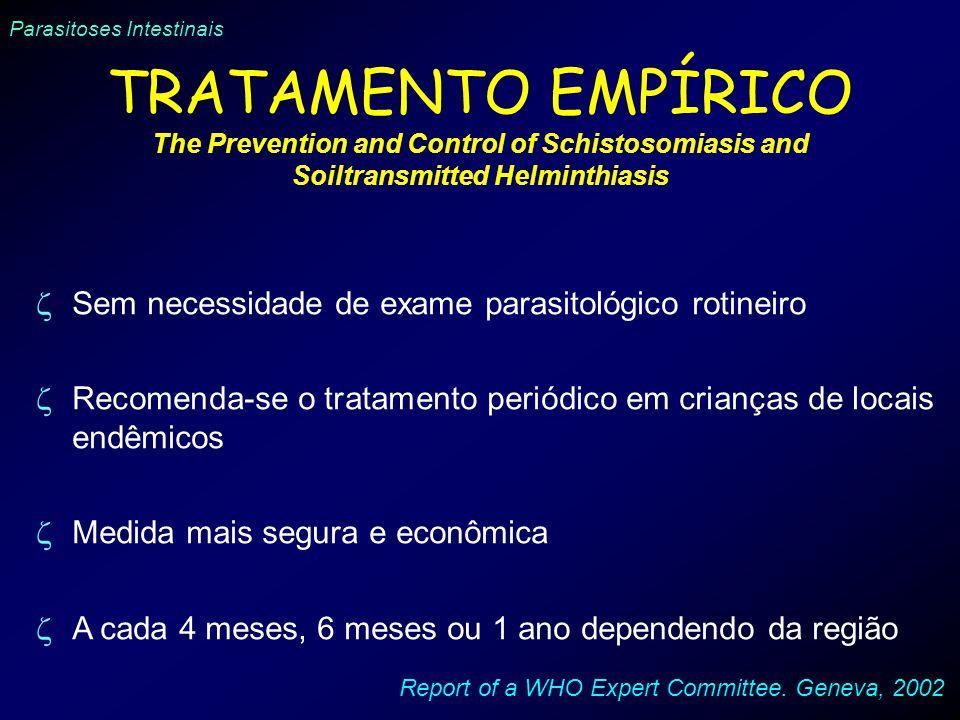 Parasitoses Intestinais TRATAMENTO EMPÍRICO The Prevention and Control of Schistosomiasis and Soiltransmitted Helminthiasis Sem necessidade de exame p