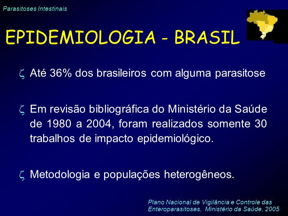 Parasitoses Intestinais EPIDEMIOLOGIA - BRASIL Até 36% dos brasileiros com alguma parasitose Em revisão bibliográfica do Ministério da Saúde de 1980 a