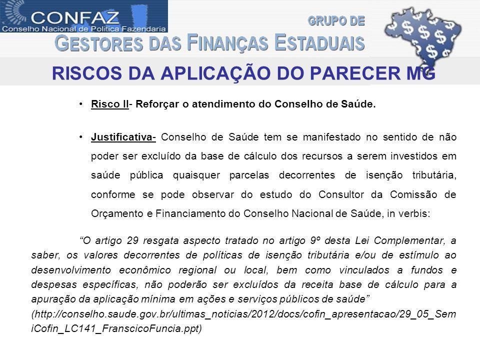 RISCOS DA APLICAÇÃO DO PARECER MG Risco II- Reforçar o atendimento do Conselho de Saúde.