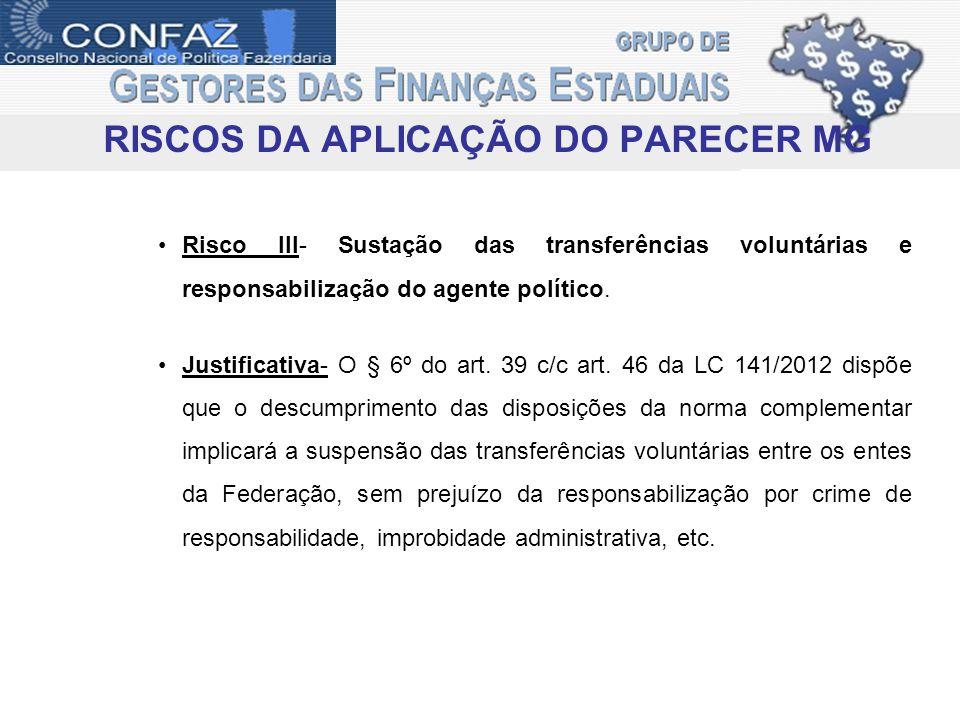 RISCOS DA APLICAÇÃO DO PARECER MG Risco III- Sustação das transferências voluntárias e responsabilização do agente político.
