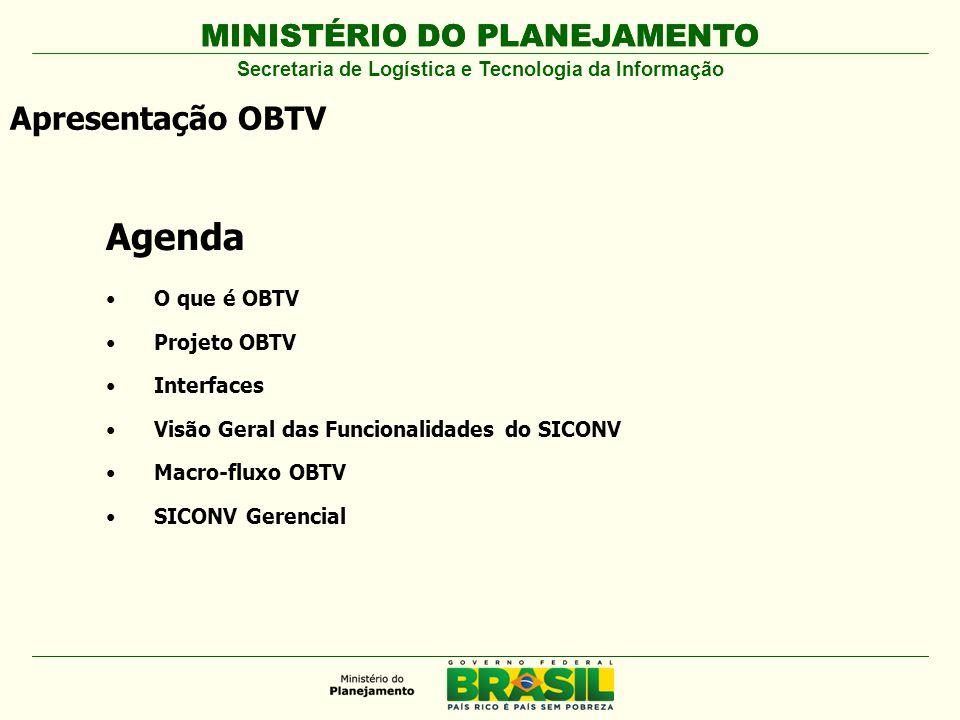MINISTÉRIO DO PLANEJAMENTO Agenda O que é OBTV Projeto OBTV Interfaces Visão Geral das Funcionalidades do SICONV Macro-fluxo OBTV SICONV Gerencial Apr