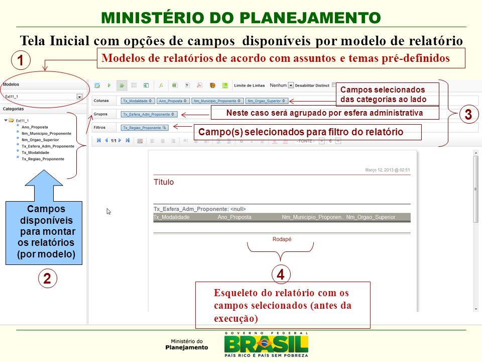 MINISTÉRIO DO PLANEJAMENTO Tela Inicial com opções de campos disponíveis por modelo de relatório Modelos de relatórios de acordo com assuntos e temas