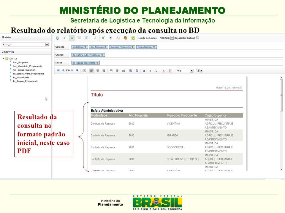 MINISTÉRIO DO PLANEJAMENTO Secretaria de Logística e Tecnologia da Informação Resultado da consulta no formato padrão inicial, neste caso PDF Resultad