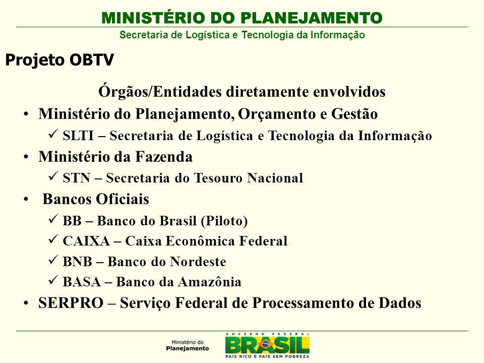 MINISTÉRIO DO PLANEJAMENTO Projeto OBTV Secretaria de Logística e Tecnologia da Informação Órgãos/Entidades diretamente envolvidos Ministério do Plane
