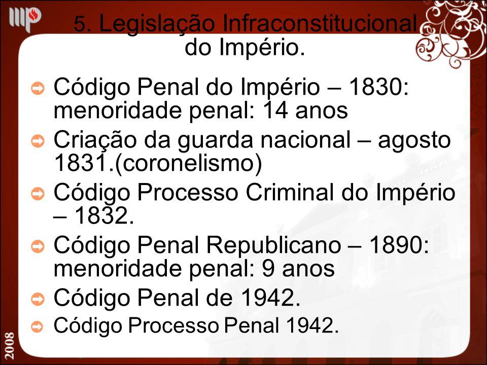 5. Legislação Infraconstitucional do Império. Código Penal do Império – 1830: menoridade penal: 14 anos Criação da guarda nacional – agosto 1831.(coro