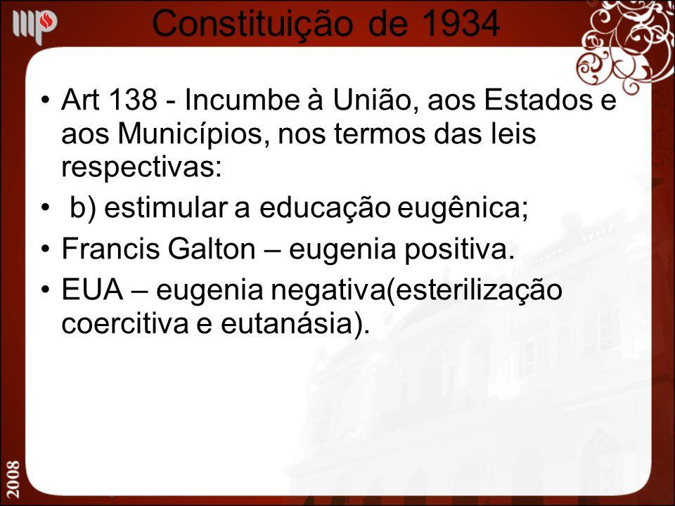 Constituição de 1934 Art 138 - Incumbe à União, aos Estados e aos Municípios, nos termos das leis respectivas: b) estimular a educação eugênica; Franc