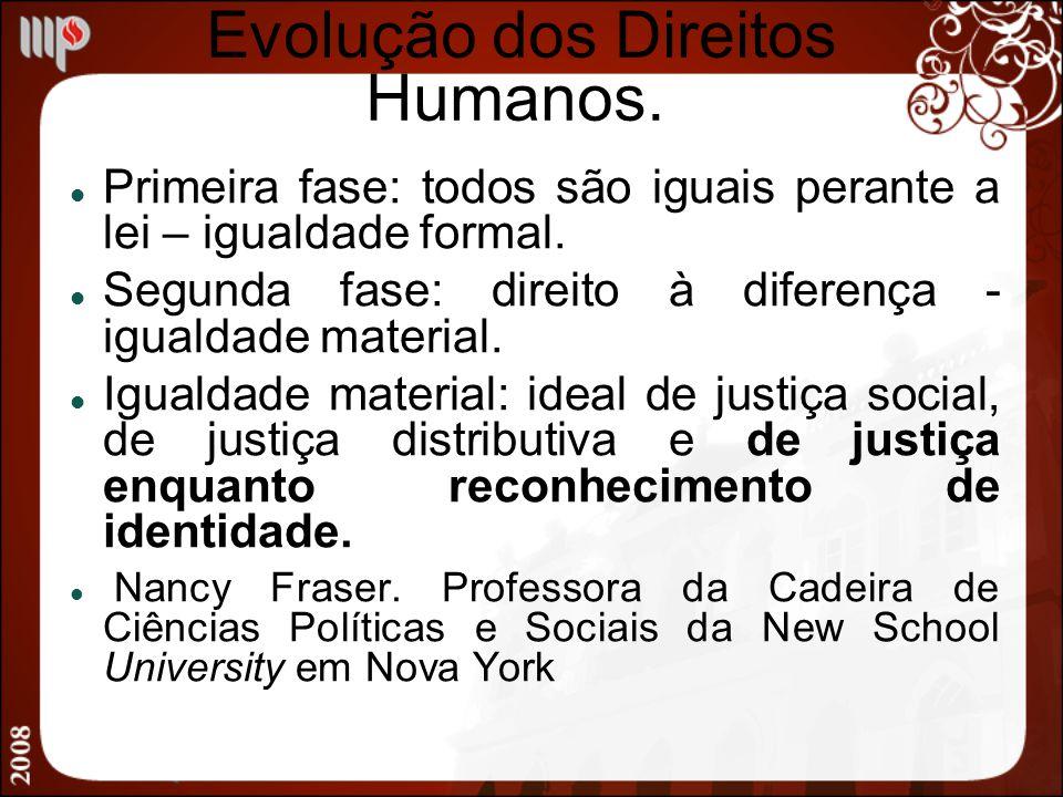 Evolução dos Direitos Humanos. Primeira fase: todos são iguais perante a lei – igualdade formal. Segunda fase: direito à diferença - igualdade materia
