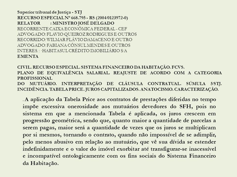 Superior tribunal de Justiça - STJ RECURSO ESPECIAL Nº 668.795 - RS (20040123972-0) RELATOR: MINISTRO JOSÉ DELGADO RECORRENTE CAIXA ECONÔMICA FEDERAL - CEF ADVOGADO: FLAVIO QUEIROZ RODRIGUES E OUTROS RECORRIDO: WILMAR FLÁVIO DAMACENO E OUTRO ADVOGADO: FABIANA CÔNSUL MENDES E OUTROS INTERES.