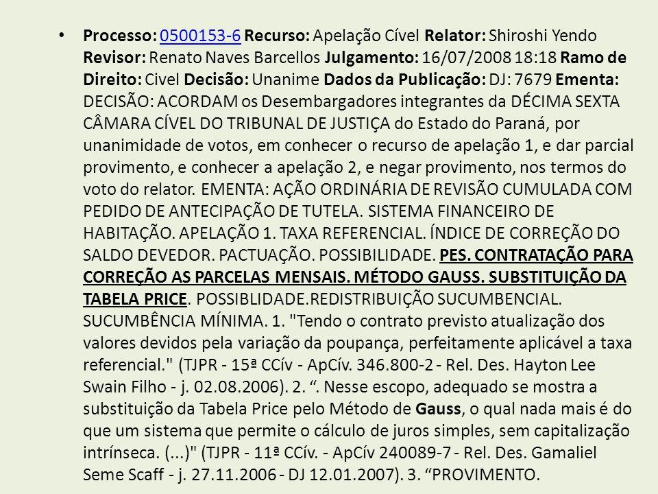 Processo: 0500153-6 Recurso: Apelação Cível Relator: Shiroshi Yendo Revisor: Renato Naves Barcellos Julgamento: 16/07/2008 18:18 Ramo de Direito: Civel Decisão: Unanime Dados da Publicação: DJ: 7679 Ementa: DECISÃO: ACORDAM os Desembargadores integrantes da DÉCIMA SEXTA CÂMARA CÍVEL DO TRIBUNAL DE JUSTIÇA do Estado do Paraná, por unanimidade de votos, em conhecer o recurso de apelação 1, e dar parcial provimento, e conhecer a apelação 2, e negar provimento, nos termos do voto do relator.