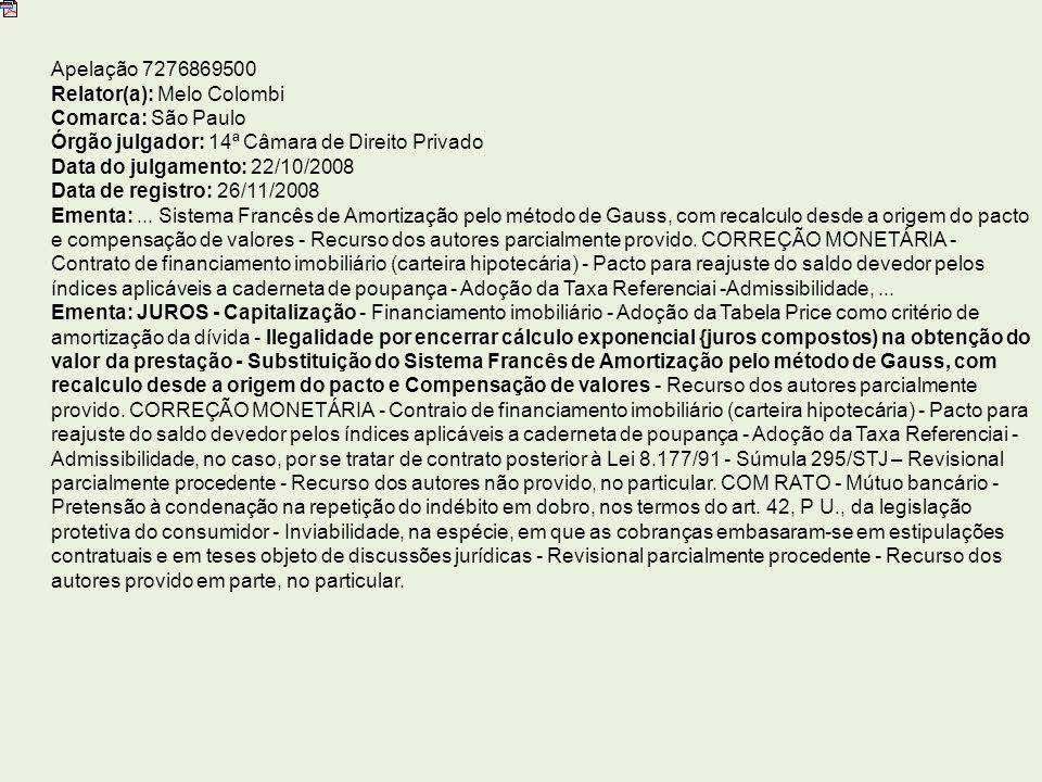 Apelação 7276869500 Relator(a): Melo Colombi Comarca: São Paulo Órgão julgador: 14ª Câmara de Direito Privado Data do julgamento: 22/10/2008 Data de registro: 26/11/2008 Ementa:...