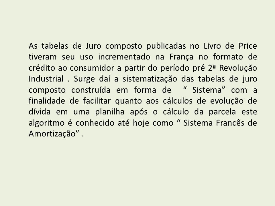 As tabelas de Juro composto publicadas no Livro de Price tiveram seu uso incrementado na França no formato de crédito ao consumidor a partir do período pré 2ª Revolução Industrial.