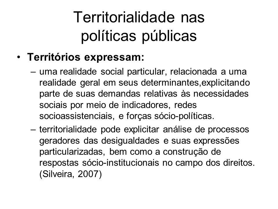 Territorialidade nas políticas públicas Territórios expressam: –uma realidade social particular, relacionada a uma realidade geral em seus determinant