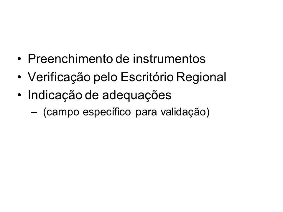Preenchimento de instrumentos Verificação pelo Escritório Regional Indicação de adequações – (campo específico para validação)