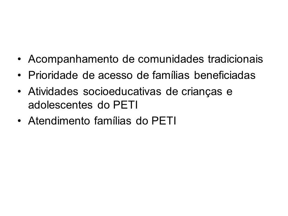 Acompanhamento de comunidades tradicionais Prioridade de acesso de famílias beneficiadas Atividades socioeducativas de crianças e adolescentes do PETI