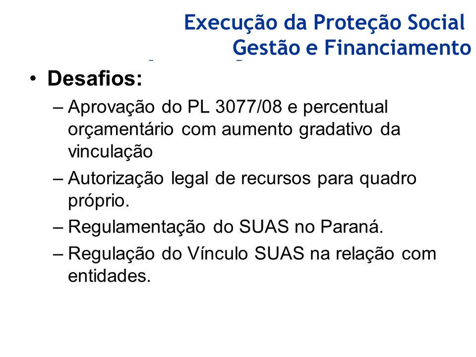 Capacitações realizadas Desafios: –Aprovação do PL 3077/08 e percentual orçamentário com aumento gradativo da vinculação –Autorização legal de recurso