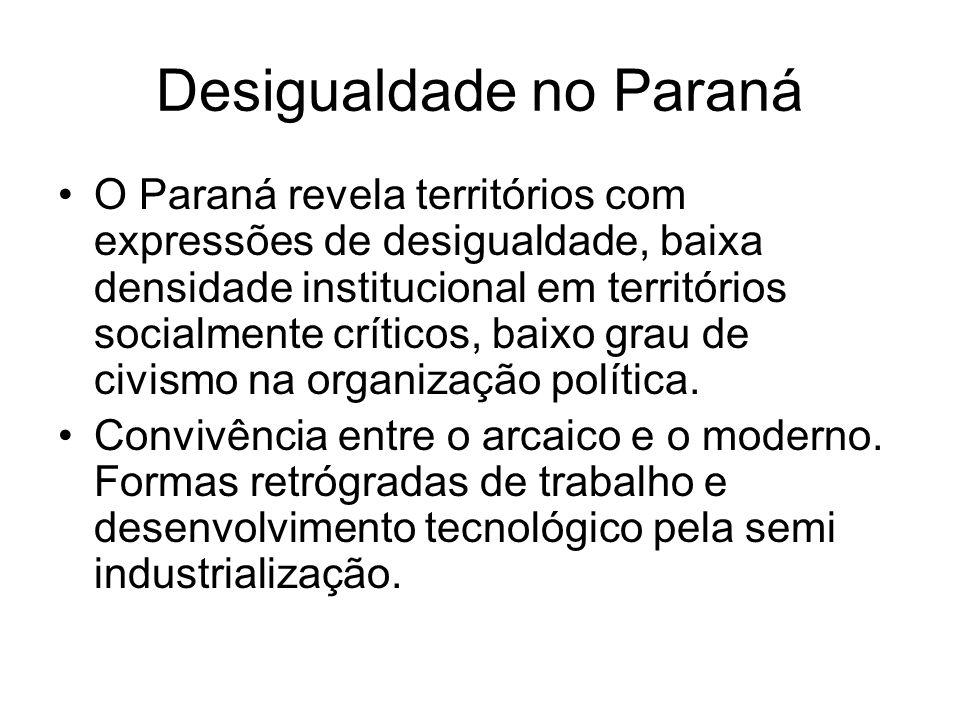 Desigualdade no Paraná O Paraná revela territórios com expressões de desigualdade, baixa densidade institucional em territórios socialmente críticos,