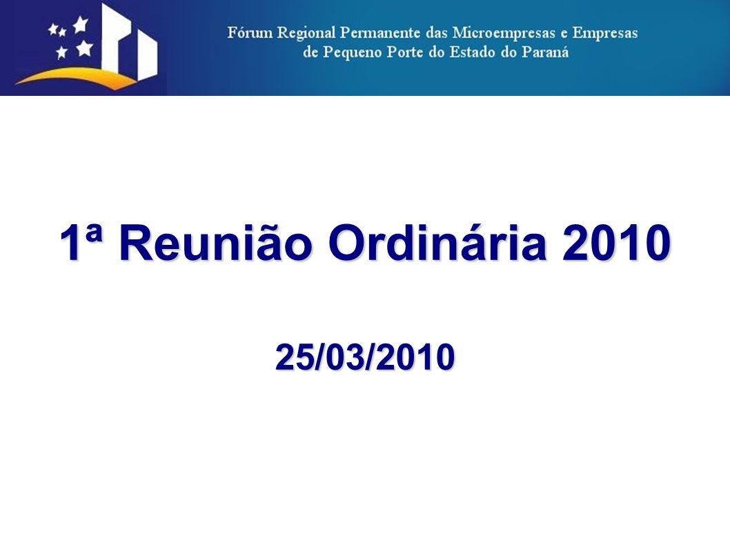2 PAUTA TEMPOTEMARESPONSÁVEL 25/03 9h30Abertura (1 ano de Instalação do FPME/PR)SEIM/SEBRAE 9h45Leitura da Ata da 1ª Reunião Plenária de 2010Sec.