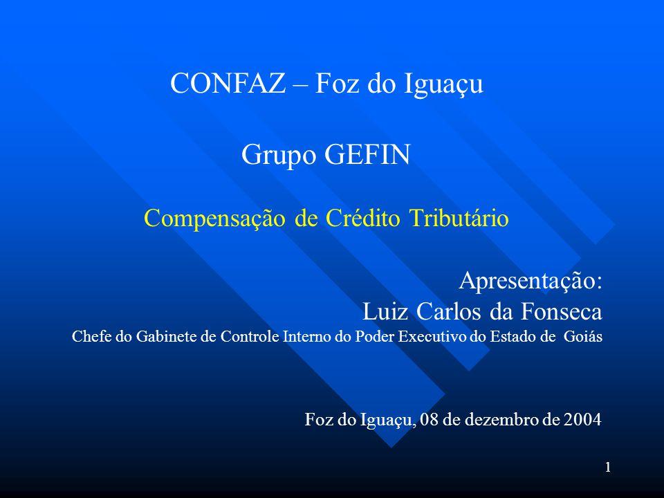 CONFAZ – Foz do Iguaçu Grupo GEFIN Compensação de Crédito Tributário Apresentação: Luiz Carlos da Fonseca Chefe do Gabinete de Controle Interno do Pod