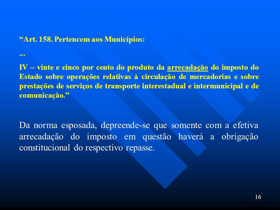 16 Art. 158. Pertencem aos Municípios:... IV – vinte e cinco por cento do produto da arrecadação do imposto do Estado sobre operações relativas à circ
