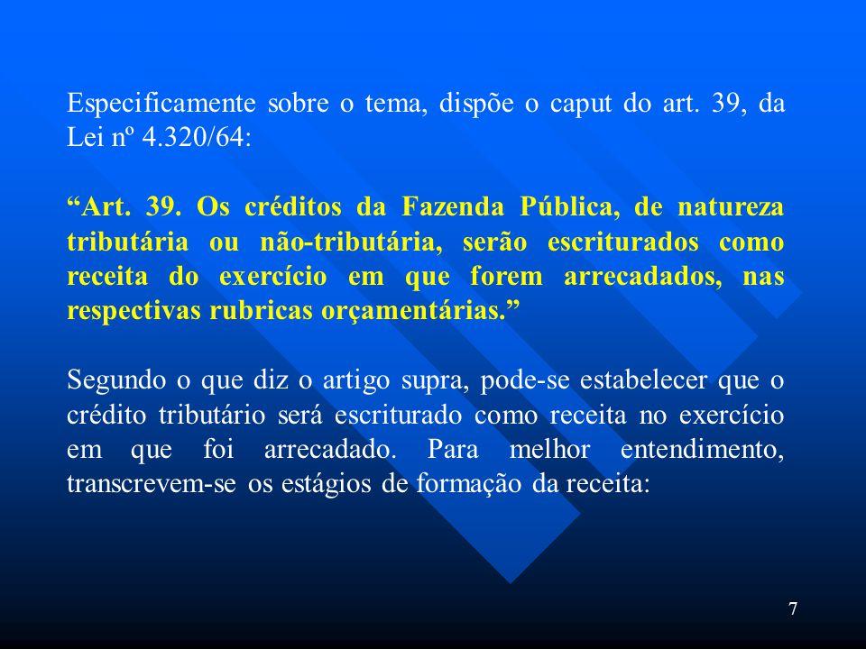 Especificamente sobre o tema, dispõe o caput do art. 39, da Lei nº 4.320/64: Art. 39. Os créditos da Fazenda Pública, de natureza tributária ou não-tr