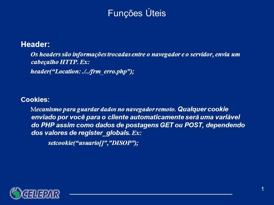 1 Classes e objetos Objeto: Variáveis de uma classe são chamadas de objetos, e devem ser criadas utilizando o operador new, seguindo o exemplo abaixo: $variavel = new $nome_da_classe; Para utilizar as funções definidas na classe, deve ser utilizado o operador ->, como no exemplo: $variavel->funcao1( );