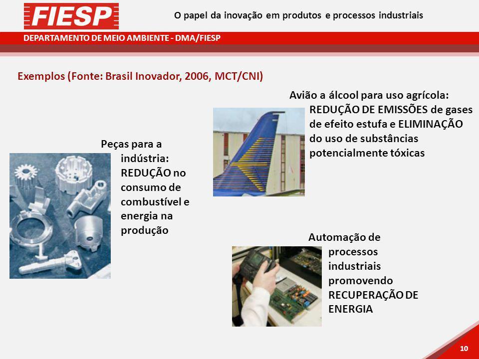 DEPARTAMENTO DE MEIO AMBIENTE - DMA/FIESP 10 Exemplos (Fonte: Brasil Inovador, 2006, MCT/CNI) Automação de processos industriais promovendo RECUPERAÇÃO DE ENERGIA Avião a álcool para uso agrícola: REDUÇÃO DE EMISSÕES de gases de efeito estufa e ELIMINAÇÃO do uso de substâncias potencialmente tóxicas Peças para a indústria: REDUÇÃO no consumo de combustível e energia na produção O papel da inovação em produtos e processos industriais