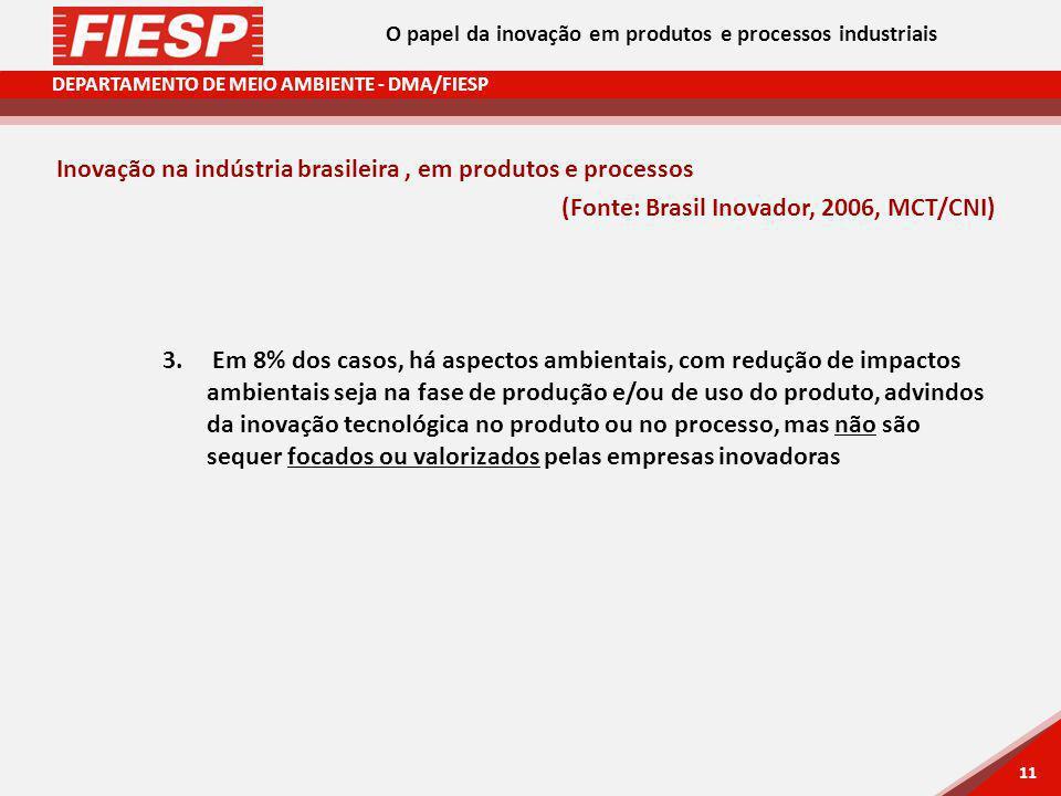 DEPARTAMENTO DE MEIO AMBIENTE - DMA/FIESP 11 Inovação na indústria brasileira, em produtos e processos (Fonte: Brasil Inovador, 2006, MCT/CNI) 3. Em 8