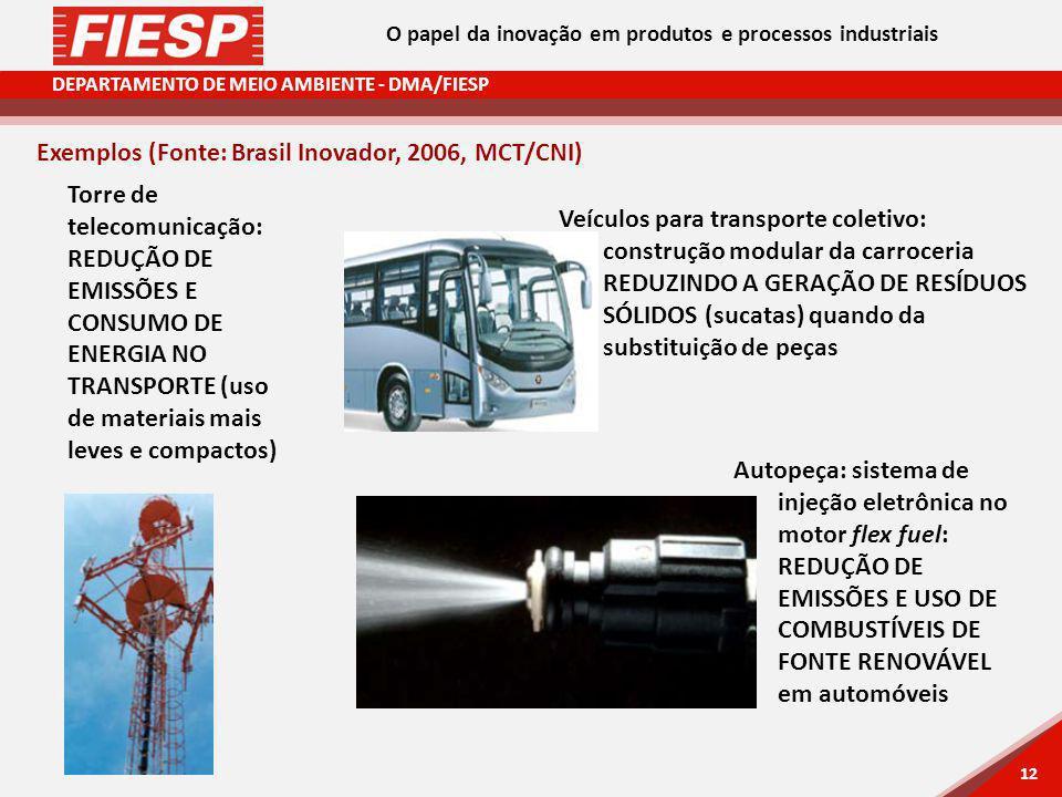 DEPARTAMENTO DE MEIO AMBIENTE - DMA/FIESP 12 Exemplos (Fonte: Brasil Inovador, 2006, MCT/CNI) Veículos para transporte coletivo: construção modular da carroceria REDUZINDO A GERAÇÃO DE RESÍDUOS SÓLIDOS (sucatas) quando da substituição de peças Autopeça: sistema de injeção eletrônica no motor flex fuel: REDUÇÃO DE EMISSÕES E USO DE COMBUSTÍVEIS DE FONTE RENOVÁVEL em automóveis Torre de telecomunicação: REDUÇÃO DE EMISSÕES E CONSUMO DE ENERGIA NO TRANSPORTE (uso de materiais mais leves e compactos) O papel da inovação em produtos e processos industriais