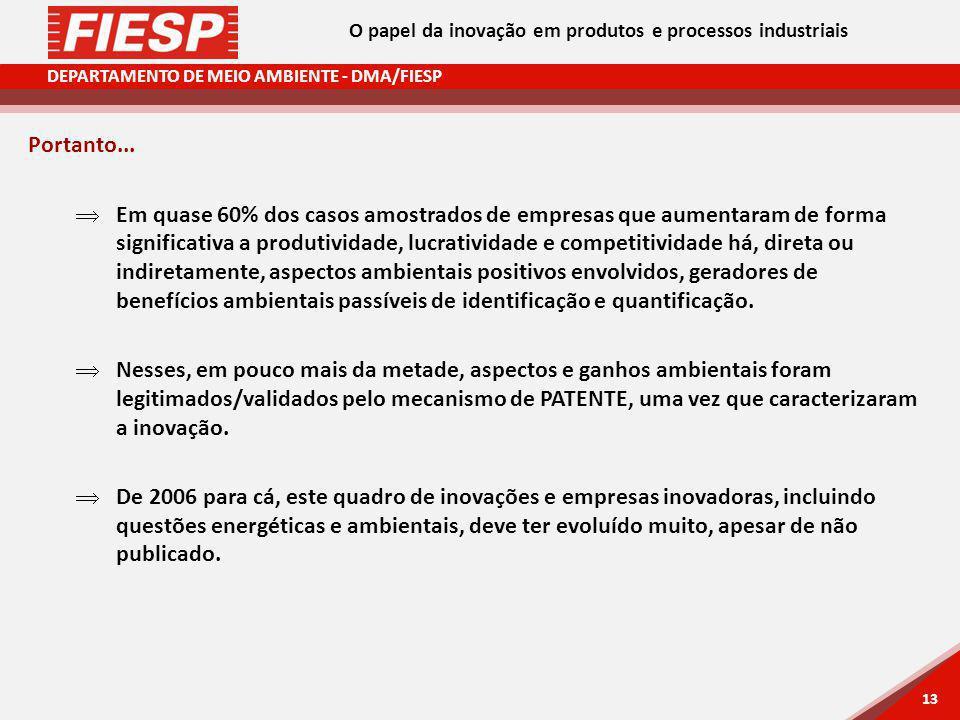 DEPARTAMENTO DE MEIO AMBIENTE - DMA/FIESP 13 Portanto... Em quase 60% dos casos amostrados de empresas que aumentaram de forma significativa a produti