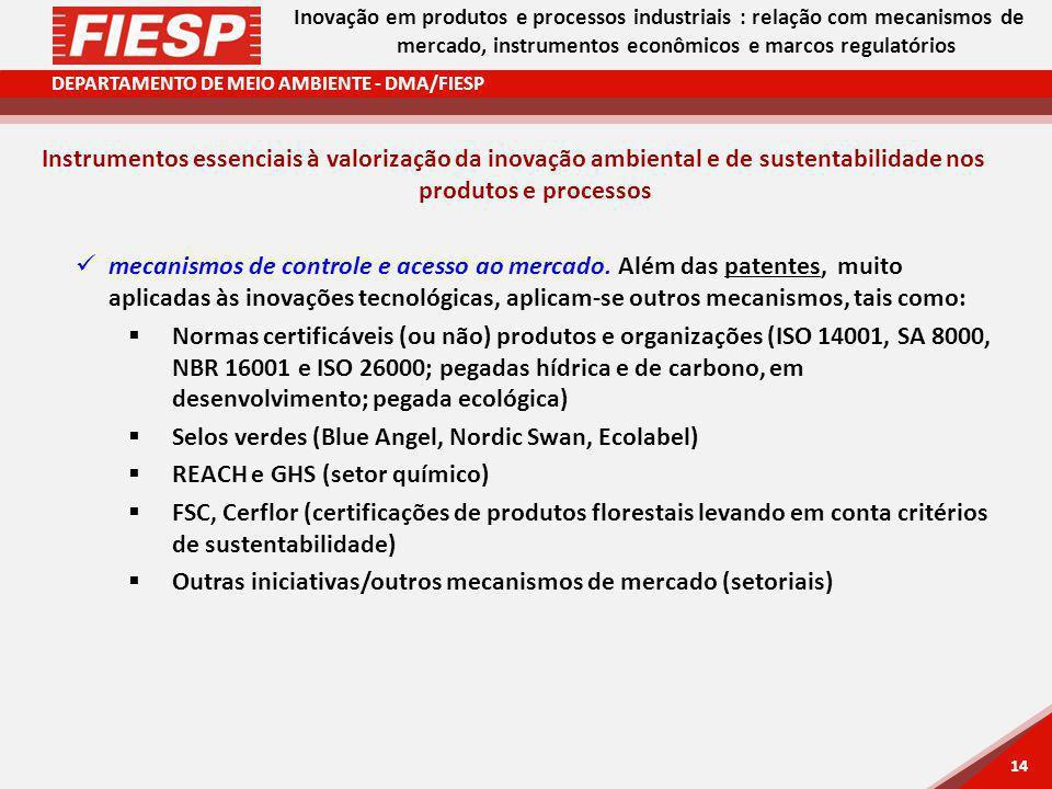 DEPARTAMENTO DE MEIO AMBIENTE - DMA/FIESP 14 Inovação em produtos e processos industriais : relação com mecanismos de mercado, instrumentos econômicos e marcos regulatórios Instrumentos essenciais à valorização da inovação ambiental e de sustentabilidade nos produtos e processos mecanismos de controle e acesso ao mercado.