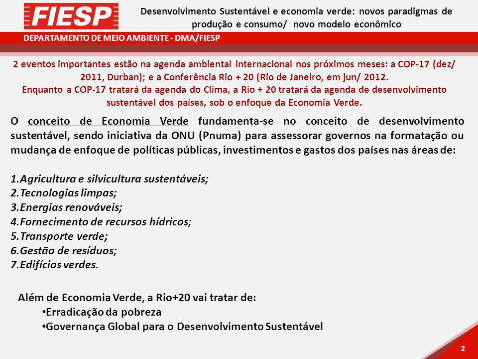 DEPARTAMENTO DE MEIO AMBIENTE - DMA/FIESP 2 2 Desenvolvimento Sustentável e economia verde: novos paradigmas de produção e consumo/ novo modelo econômico 2 eventos importantes estão na agenda ambiental internacional nos próximos meses: a COP-17 (dez/ 2011, Durban); e a Conferência Rio + 20 (Rio de Janeiro, em jun/ 2012.