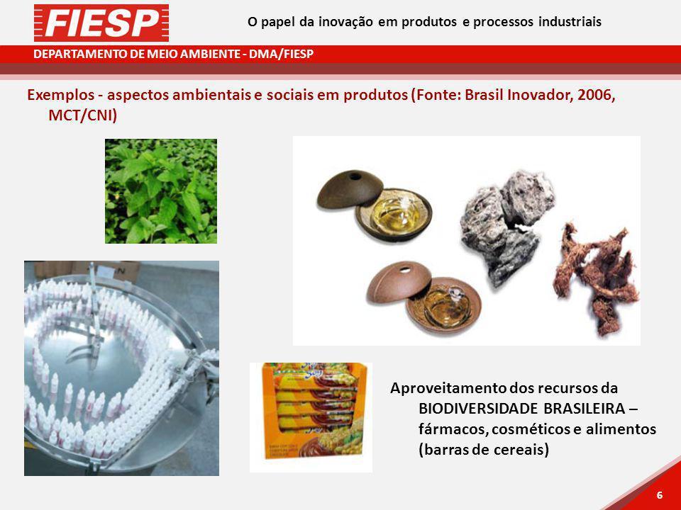 DEPARTAMENTO DE MEIO AMBIENTE - DMA/FIESP 6 6 Exemplos - aspectos ambientais e sociais em produtos (Fonte: Brasil Inovador, 2006, MCT/CNI) Aproveitamento dos recursos da BIODIVERSIDADE BRASILEIRA – fármacos, cosméticos e alimentos (barras de cereais) O papel da inovação em produtos e processos industriais