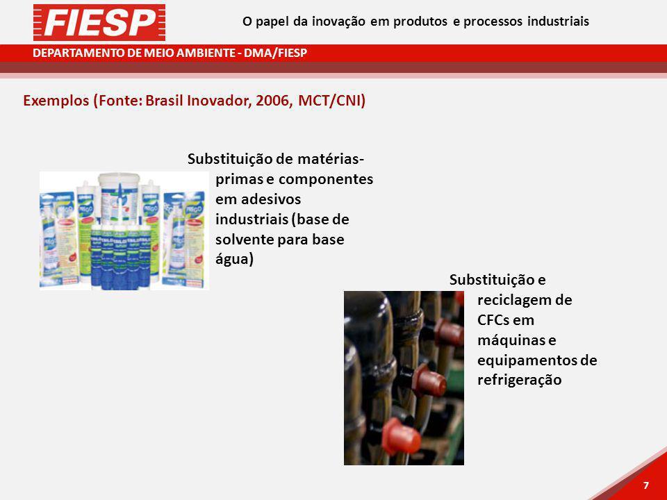 DEPARTAMENTO DE MEIO AMBIENTE - DMA/FIESP 7 7 Exemplos (Fonte: Brasil Inovador, 2006, MCT/CNI) Substituição de matérias- primas e componentes em adesivos industriais (base de solvente para base água) Substituição e reciclagem de CFCs em máquinas e equipamentos de refrigeração O papel da inovação em produtos e processos industriais