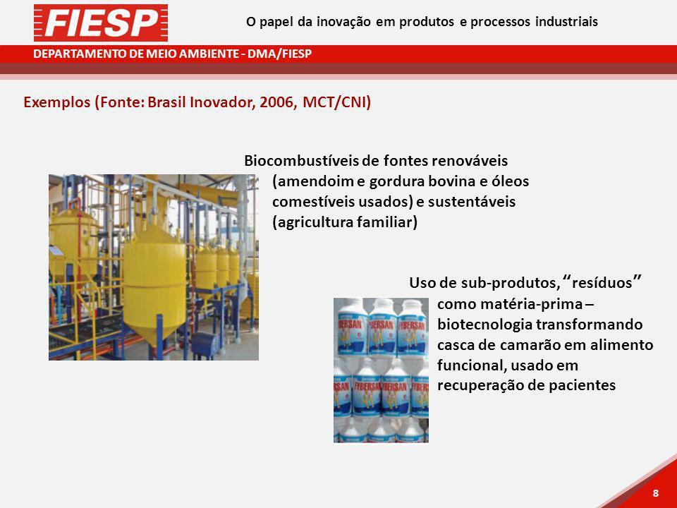 DEPARTAMENTO DE MEIO AMBIENTE - DMA/FIESP 8 8 Exemplos (Fonte: Brasil Inovador, 2006, MCT/CNI) Biocombustíveis de fontes renováveis (amendoim e gordura bovina e óleos comestíveis usados) e sustentáveis (agricultura familiar) Uso de sub-produtos, resíduos como matéria-prima – biotecnologia transformando casca de camarão em alimento funcional, usado em recuperação de pacientes O papel da inovação em produtos e processos industriais