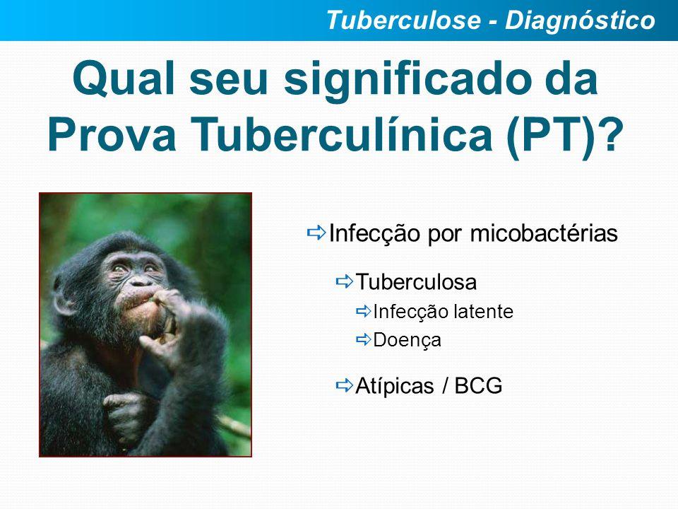 Qual seu significado da Prova Tuberculínica (PT)? Infecção por micobactérias Tuberculosa Infecção latente Doença Atípicas / BCG Tuberculose - Diagnóst