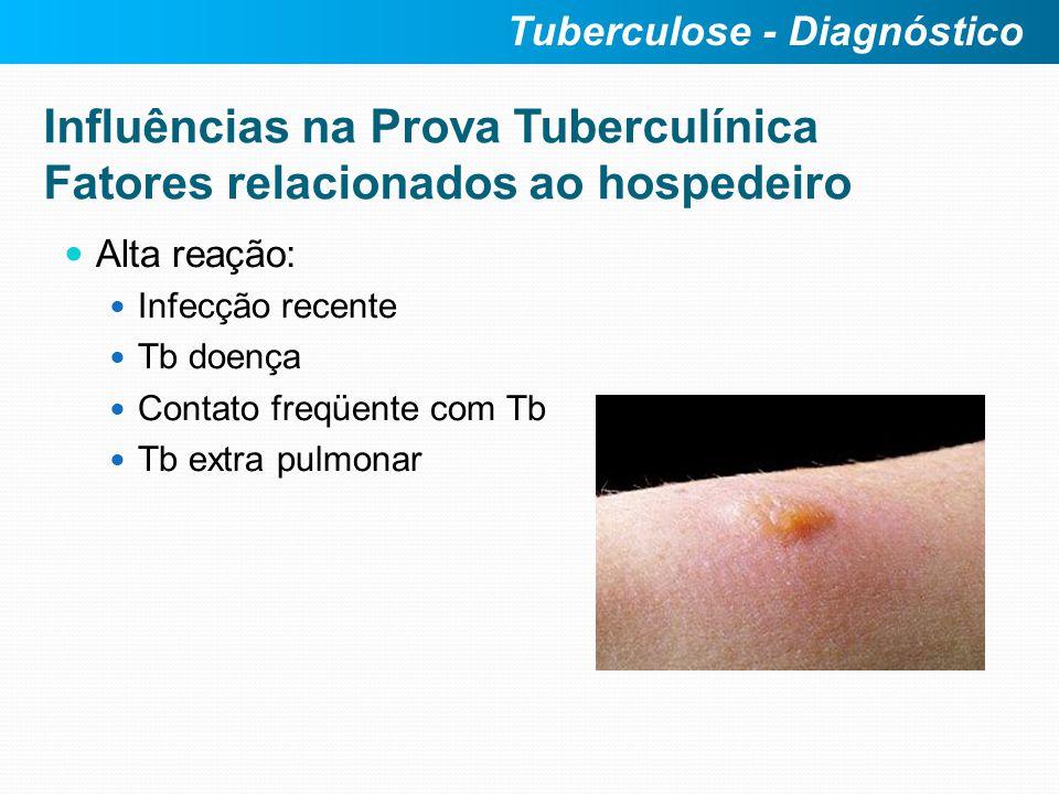 Influências na Prova Tuberculínica Fatores relacionados ao hospedeiro Alta reação: Infecção recente Tb doença Contato freqüente com Tb Tb extra pulmon