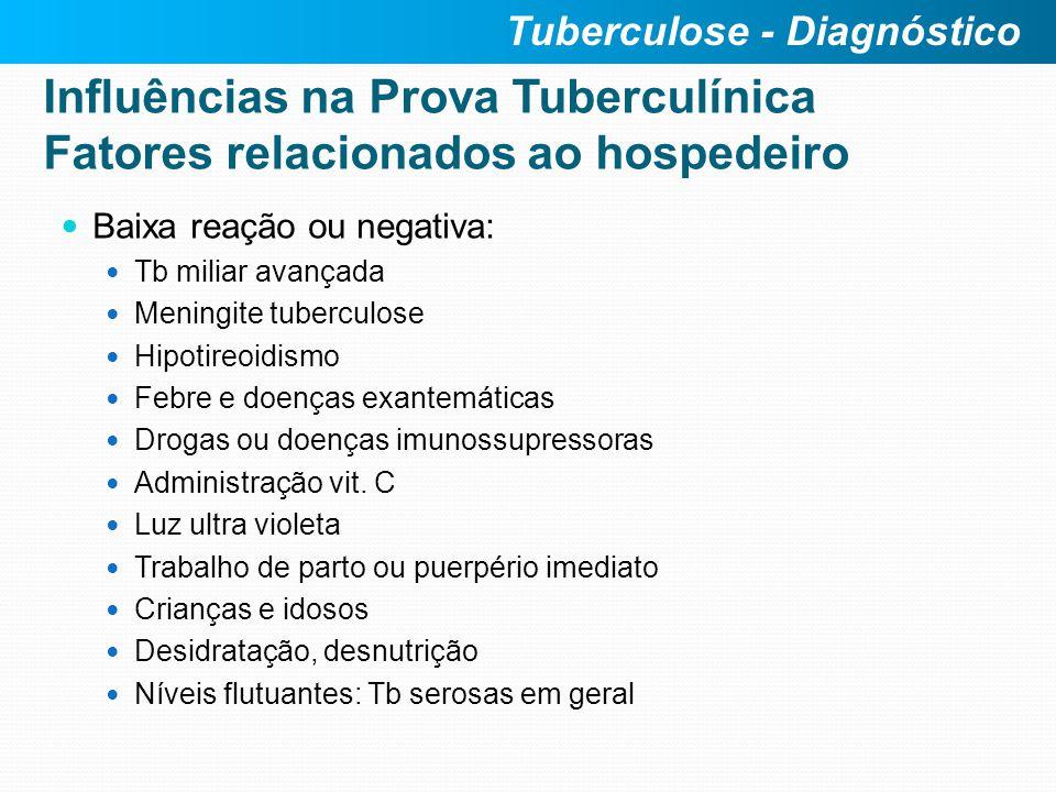 Baixa reação ou negativa: Tb miliar avançada Meningite tuberculose Hipotireoidismo Febre e doenças exantemáticas Drogas ou doenças imunossupressoras A