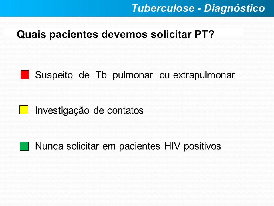 Quais pacientes devemos solicitar PT? Suspeito de Tb pulmonar ou extrapulmonar Investigação de contatos Nunca solicitar em pacientes HIV positivos Tub