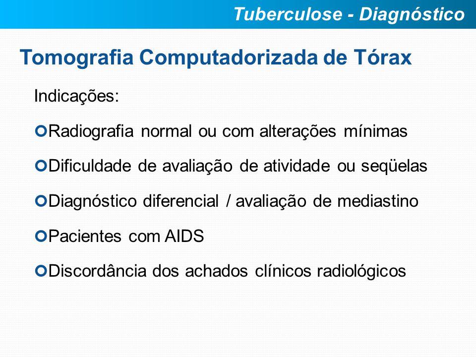 Tomografia Computadorizada de Tórax Indicações: Radiografia normal ou com alterações mínimas Dificuldade de avaliação de atividade ou seqüelas Diagnós