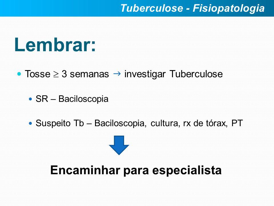 Lembrar: Tosse 3 semanas investigar Tuberculose SR – Baciloscopia Suspeito Tb – Baciloscopia, cultura, rx de tórax, PT Tuberculose - Fisiopatologia En