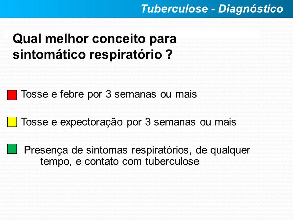 Qual melhor conceito para sintomático respiratório ? Tosse e febre por 3 semanas ou mais Tosse e expectoração por 3 semanas ou mais Presença de sintom