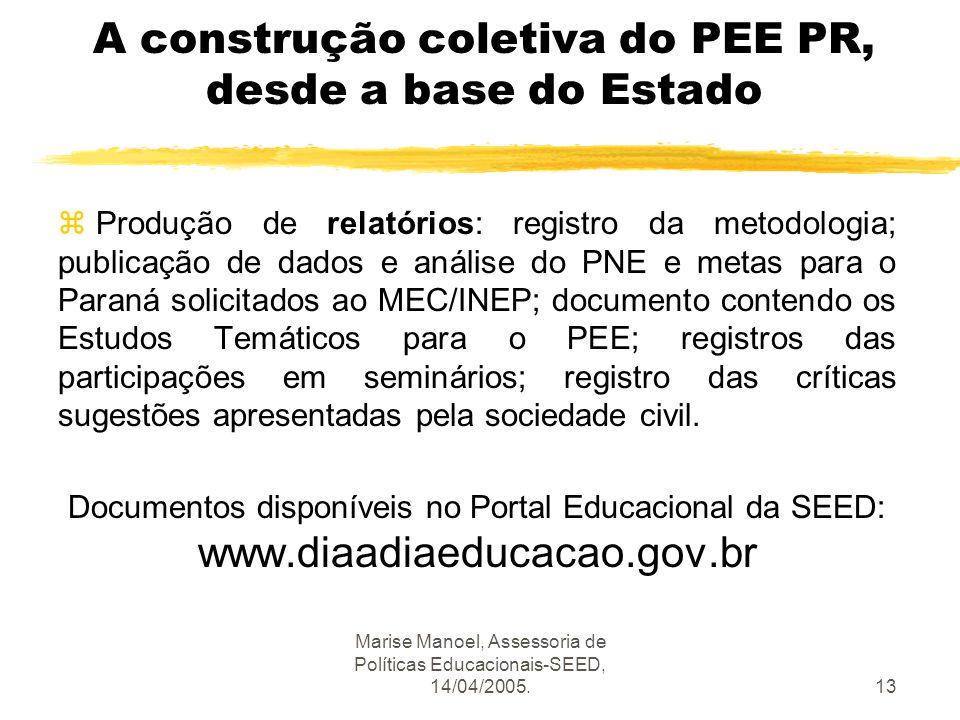 Marise Manoel, Assessoria de Políticas Educacionais-SEED, 14/04/2005.13 A construção coletiva do PEE PR, desde a base do Estado z Produção de relatóri