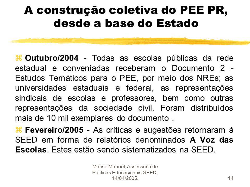 Marise Manoel, Assessoria de Políticas Educacionais-SEED, 14/04/2005.14 A construção coletiva do PEE PR, desde a base do Estado z Outubro/2004 - Todas