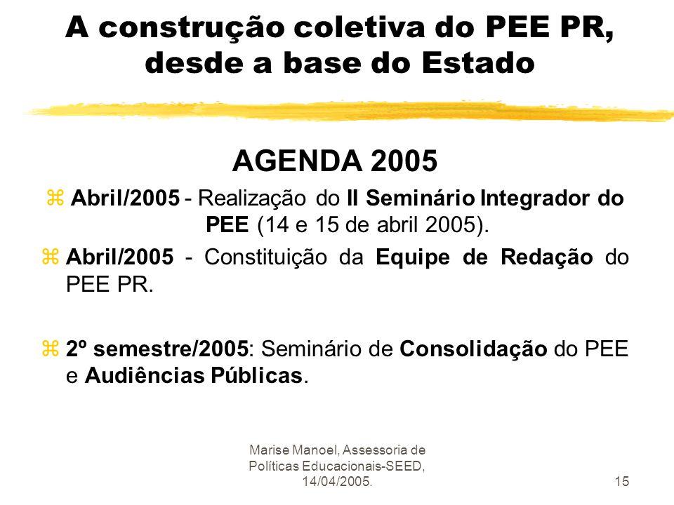 Marise Manoel, Assessoria de Políticas Educacionais-SEED, 14/04/2005.15 A construção coletiva do PEE PR, desde a base do Estado AGENDA 2005 zAbril/200